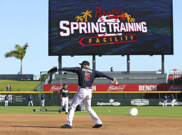 Atlanta Braves first baseman Freedie Freeman and the team take batting practice while preparing to play the Baltimore Orioles in a spring baseball game at the Braves new facility CoolToday Park on Saturday, Feb. 22, 2020, in North Port, Fla. (Curtis Compton/Atlanta Journal-Constitution via AP)