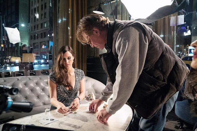 Jessica Chastain and director Aaron Sorkin on the set of <em>Molly's Game.</em>(Photo: Michael Gibson/STX Entertainment/Courtesy Everett Collection)