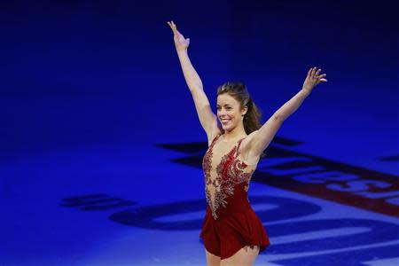 Fourth place finisher Ashley Wagner takes the ice during an exhibition event at the conclusion of the U.S. Figure Skating Championships in Boston, Massachusetts January 12, 2014. REUTERS/Brian Snyder
