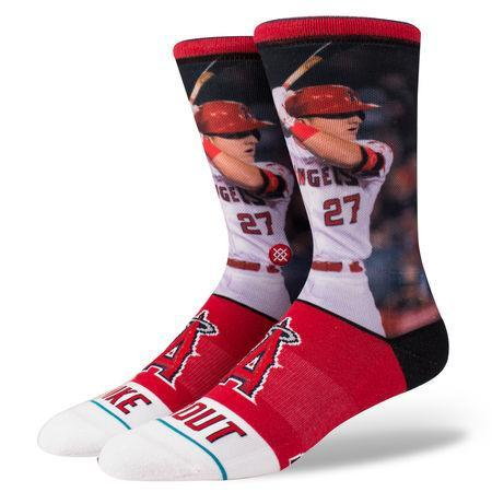"<a class=""link rapid-noclick-resp"" href=""/mlb/players/8861/"" data-ylk=""slk:Mike Trout"">Mike Trout</a> cuts a handsome figure on these socks from Stance. (stance.com)"