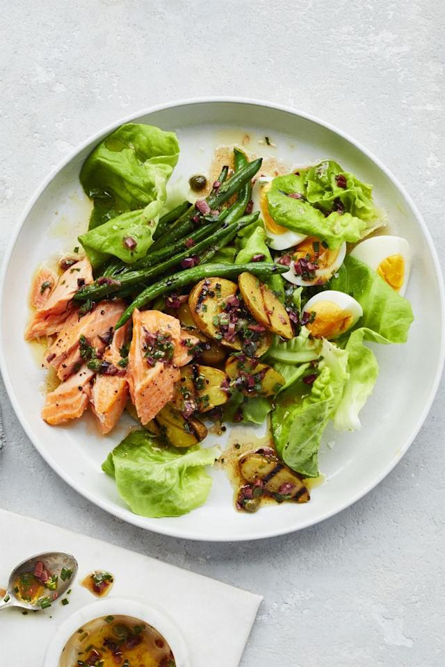 "<p>A slight variation on the traditional nicoise, this version uses heart-healthy salmon. And since the ingredients are fresh veggies and filling proteins, you won't crave after-dinner snacks. </p><p><a href=""https://www.womansday.com/food-recipes/food-drinks/recipes/a59397/salmon-nicoise-salad-recipe/"" target=""_blank""><strong><em>Get the recipe »</em></strong></a></p>"