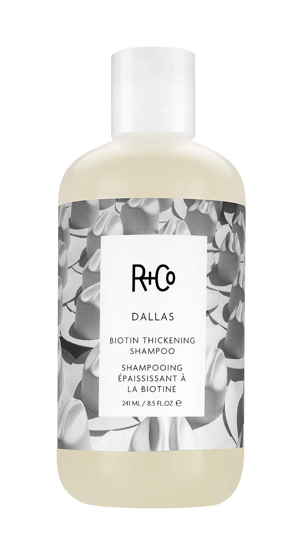 """<h2>R+Co<br></h2><br>Get 30% off bestsellers<br><br><strong><em>Shop <a href=""""https://amzn.to/3wrvUcP"""" rel=""""nofollow noopener"""" target=""""_blank"""" data-ylk=""""slk:R+Co"""" class=""""link rapid-noclick-resp"""">R+Co</a></em></strong><br><br><strong>R+Co</strong> Dallas Biotin Thickening Shampoo, $, available at <a href=""""https://amzn.to/3iUbRjt"""" rel=""""nofollow noopener"""" target=""""_blank"""" data-ylk=""""slk:Amazon"""" class=""""link rapid-noclick-resp"""">Amazon</a>"""