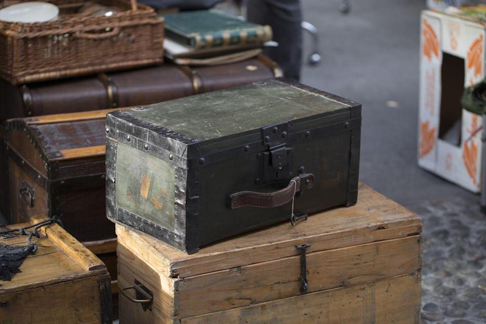 "<p>Antique American trunks in good condition generally might be worth a few hundred dollars. But if you are dreaming of a garage sale super-score, bring home a trunk from the luxury French design house Louis Vuitton. A brass Louis Vuitton Explorer trunk from 1888 <a href=""https://thehotbid.com/2019/05/31/sold-christies-hong-kong-sold-that-gorgeous-1888-brass-louis-vuitton-trunk-for-scroll-down-to-see/"" rel=""nofollow noopener"" target=""_blank"" data-ylk=""slk:sold at auction"" class=""link rapid-noclick-resp"">sold at auction </a>in 2019 for $159,200.</p>"