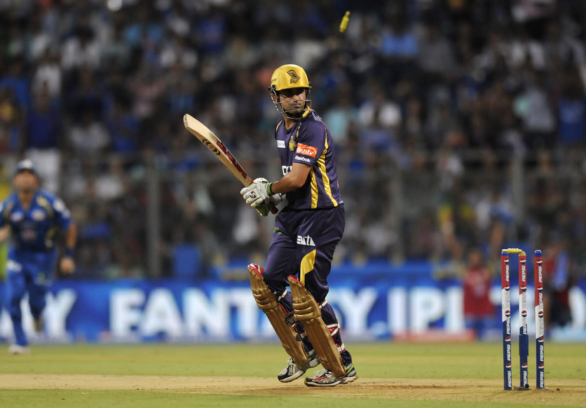 Gautam Gambhir captain of Kolkata Knight Riders gets bowled out by Mitchell Johnson of Mumbai Indians during match 53 of the Pepsi Indian Premier League ( IPL) 2013  between The Mumbai Indians and the Kolkata Knight Riders held at the Wankhede Stadium in Mumbai on the 7th May 2013 ..Photo by Pal Pillai-IPL-SPORTZPICS  ..Use of this image is subject to the terms and conditions as outlined by the BCCI. These terms can be found by following this link:..https://ec.yimg.com/ec?url=http%3a%2f%2fwww.sportzpics.co.za%2fimage%2fI0000SoRagM2cIEc&t=1490688407&sig=1q.LpjzB2ohP05OUEeJOPw--~C