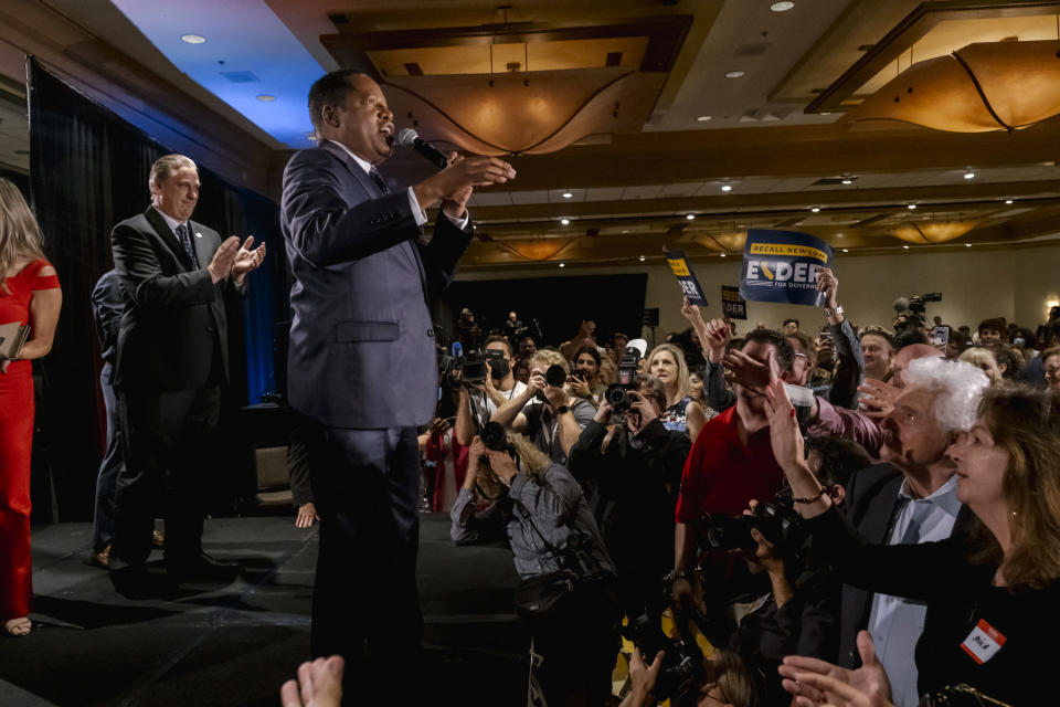 Larry Elder, the Republican front-runner in the bid to replace California Gov. Gavin Newsom, thanked supporters at his election night party Tuesday, Sept. 14, 2021, at the Hilton Orange County in Costa Mesa, Calif. (Mark Abramson/The New York Times)