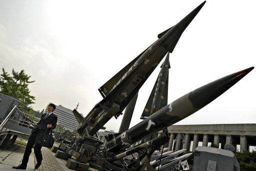 """File photo shows missiles displayed at the war museum in Seoul. North Korea demanded Thursday that South Korea apologise for what it called insults during major anniversary festivities, or face a """"sacred war"""", as Seoul unveiled a new missile to deter its neighbour"""