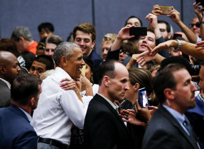 Barack Obama with supporters