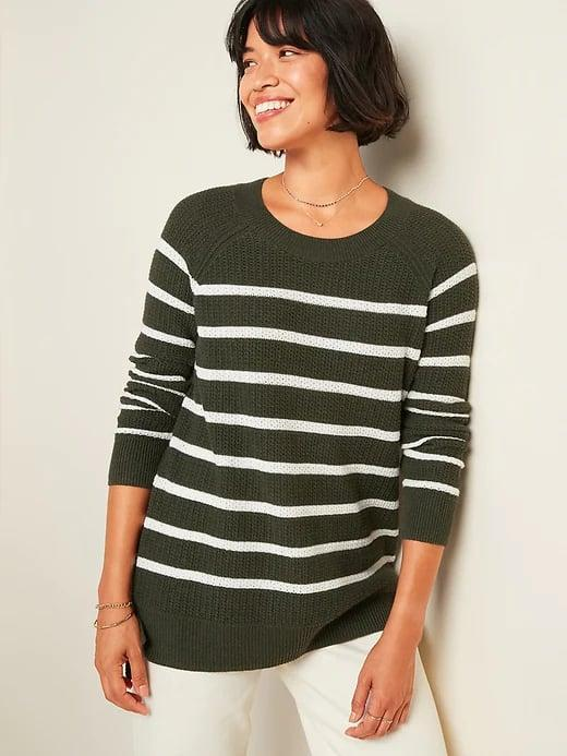 <p>You can get tons of wear out of an <span>Old Navy Textured Crew-Neck Sweater</span> ($13-$14, originally $35) this autumn since it's a great in-between weight. </p>