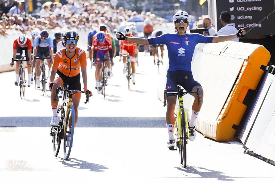 Elisa Balsamo of Italy crosses the finish line ahead of Marianne Vos to win the women's road race at the World Road Cycling Championships (Olivier Matthys/AP) (AP)