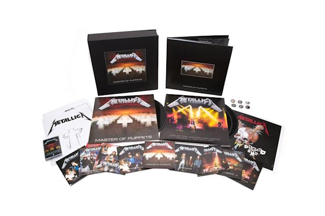 <p>The band's pivotal 1986 album expanded to a three-CD set featuring demos, rough mixes, live tracks, an interview with late bass player Cliff Burton, and a 28-page booklet. The live material was recorded at various locations, ranging from the Country Club in Reseda, Calif., to Grugahalle in Essen, West Germany. It's also being offered in a Limited Edition Deluxe Box Set that includes a 108-page hardcover book with previously unpublished photos, outtakes, rare interviews, three LPs, 10 CDs, a cassette, two DVDs, a lithograph, a folder with handwritten lyrics, and a set of a half-dozen buttons. Phew! (Photo: Elektra Records) </p>