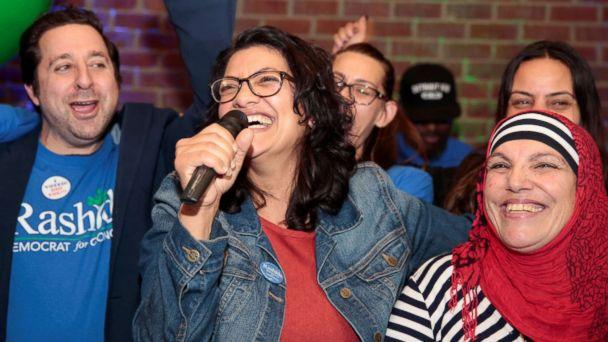 PHOTO: Democratic congressional candidate Rashida Tlaib celebrates with her mother at her midterm election night party in Detroit, Nov. 6, 2018. (Rebecca Cook/Reuters)