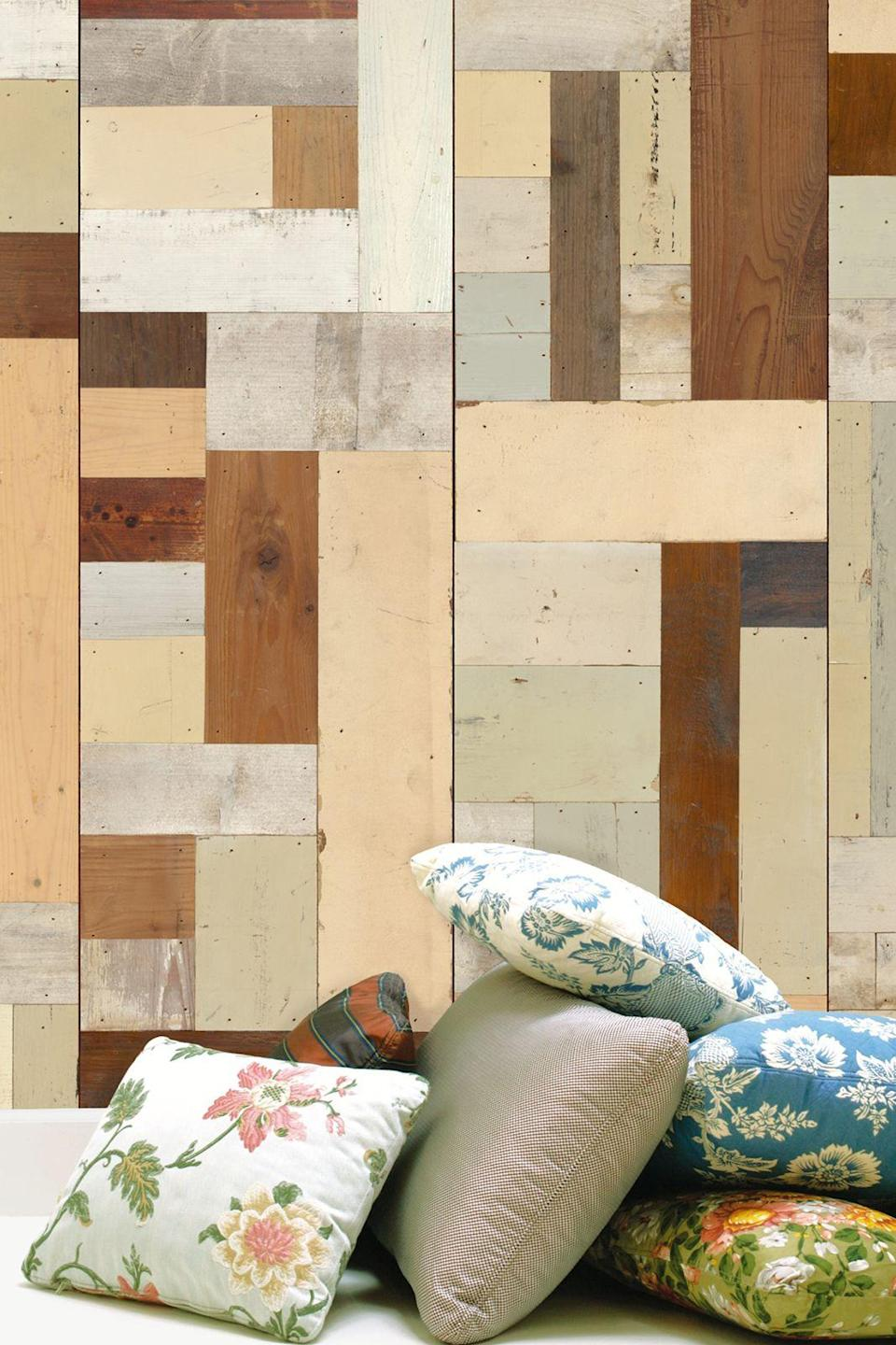 """<p>Less stripped-back than concrete but still with a whiff of the industrial, this scrap wood design has a warm and inviting feel thanks to its homespun look. The palette of different timbers and neutral tones makes for a flattering backdrop – try it in a bedroom or living room for a wood-cabin vibe.</p><p><strong>NLXL</strong> Scrap Wood Wallpaper in PHE-06, £199 per 9 metre roll, available at <a href=""""http://www.johnlewis.com/nlxl-scrap-wood-paste-the-wall-wallpaper/p531257"""" rel=""""nofollow noopener"""" target=""""_blank"""" data-ylk=""""slk:John Lewis"""" class=""""link rapid-noclick-resp"""">John Lewis</a> </p>"""