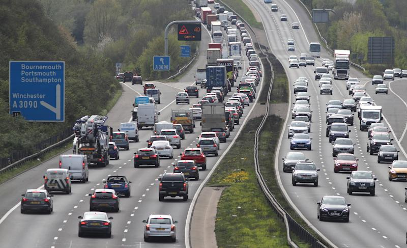 Traffic on the M3 motorway near to Winchester in Hampshire (Picture: PA)