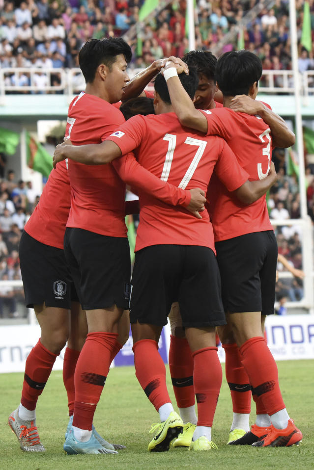 South Korea's team players celebrate after scoring a goal during the World Cup Group H qualifying soccer match between Turkmenistan and South Korea at the Kopetdag Stadium in Ashgabat, Turkmenistan, Tuesday, Sept. 10, 2019. (AP Photo/Alexander Vershinin)