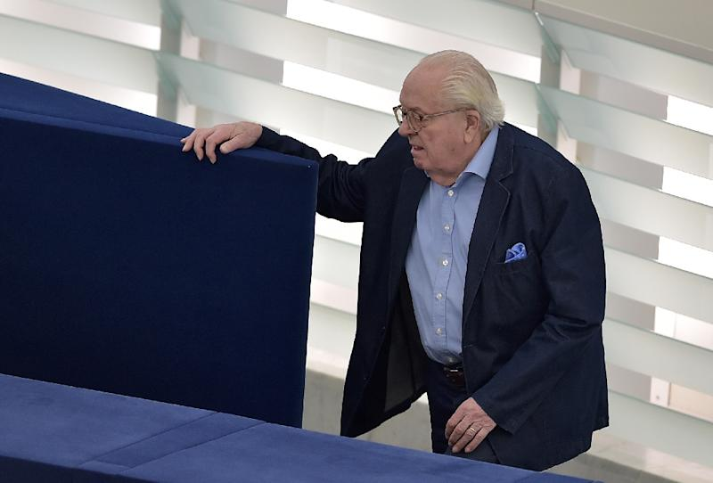 French far-right Front National (FN) party's founder and former leader Jean-Marie Le Pen arrives for a voting session on May 11, 2016 at the European Parliament, in Strasbourg, eastern France (AFP Photo/Patrick Hertzog)