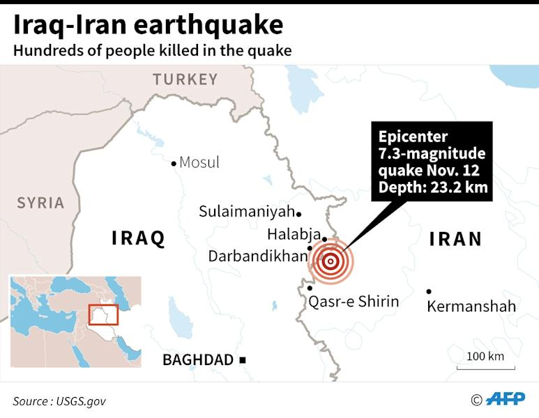 Map showing the epicenter of a 7.3-magnitude quake on the Iraq-Iran border Sunday that has has left hundreds killed. (AFP Photo/Laurence CHU)