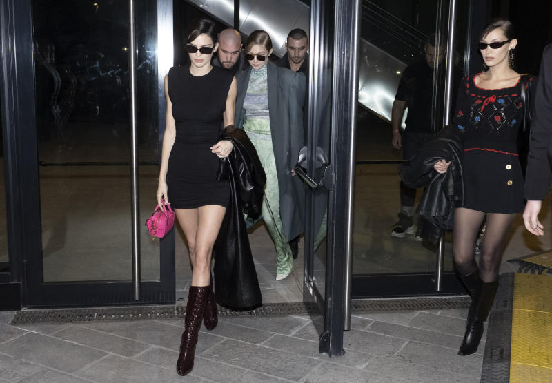 MILAN, ITALY - FEBRUARY 21: Kendall Jenner, Gigi Hadid and Bella Hadid are seen during Milan Fashion Week Fall/Winter 2020-2021 on February 21, 2020 in Milan, Italy. (Photo by Arnold Jerocki/Getty Images)