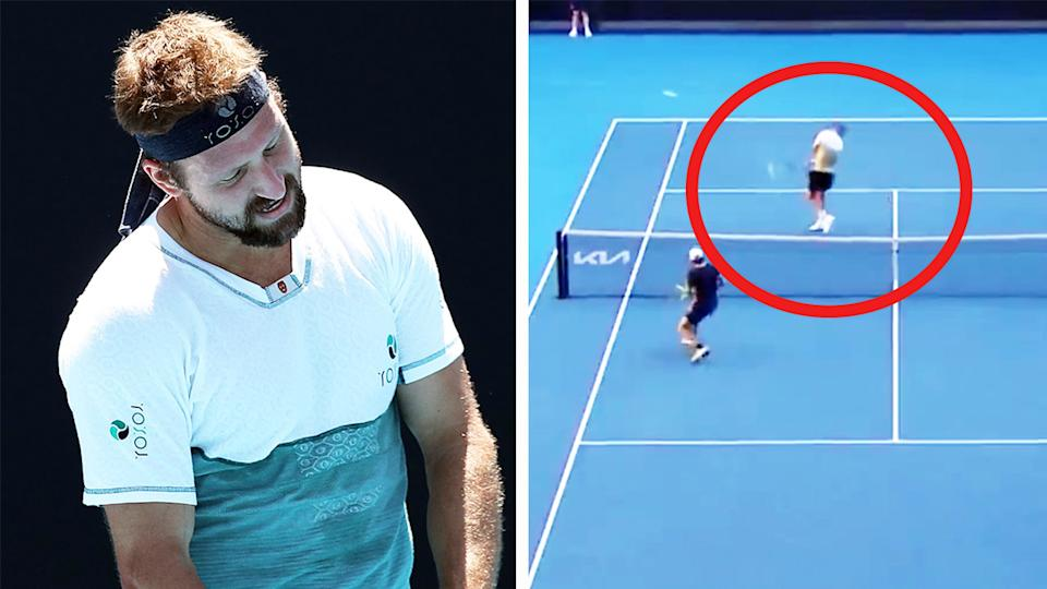 Tennys Sandgren (pictured left) disappointed during his Australian open match and (pictured right) being hit with the ball.