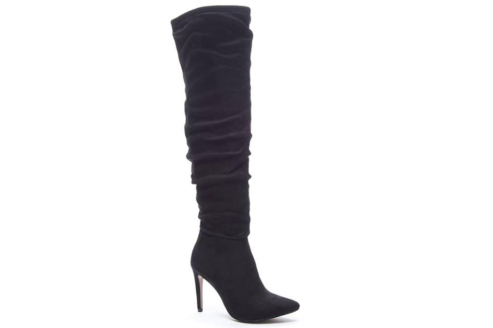 black boots, knee high, heeled, pointed toe, suede, chinese laundry