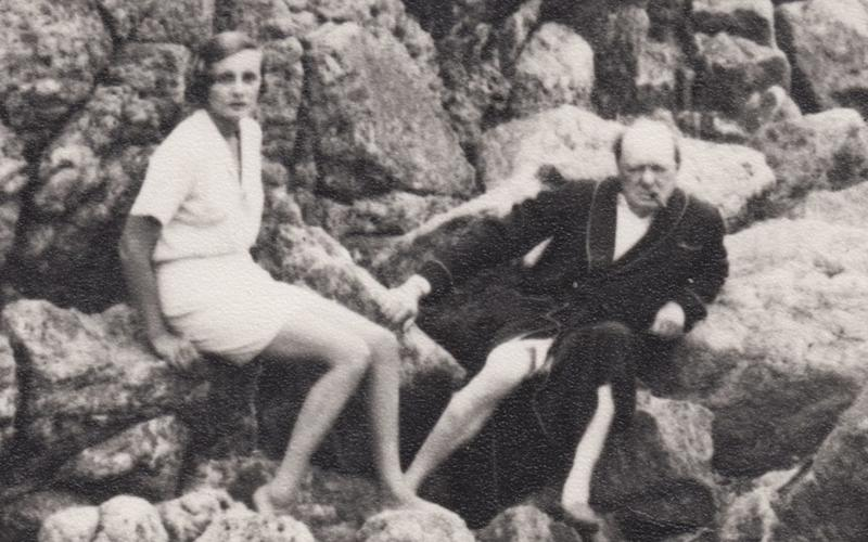 Doris Castlerosse and Winston Churchill on a beach near Chateau de la Horizon during the mid 1930s - Production Company. Channel 4 images must not be altered or manipulated in any way. This picture ma
