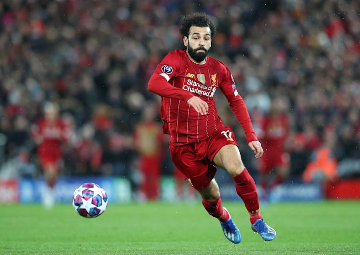 LIVERPOOL, ENGLAND - MARCH 11:  Mohamed Salah of Liverpool chases the ball during the UEFA Champions League round of 16 second leg match between Liverpool FC and Atletico Madrid at Anfield on March 11, 2020 in Liverpool, United Kingdom. (Photo by Alex Livesey - Danehouse/Getty Images)