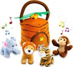 <p>The handle on this <span>Kleeger Plush Talking Jungle Animals Toy Set </span> ($24) makes it easy to carry around.</p>