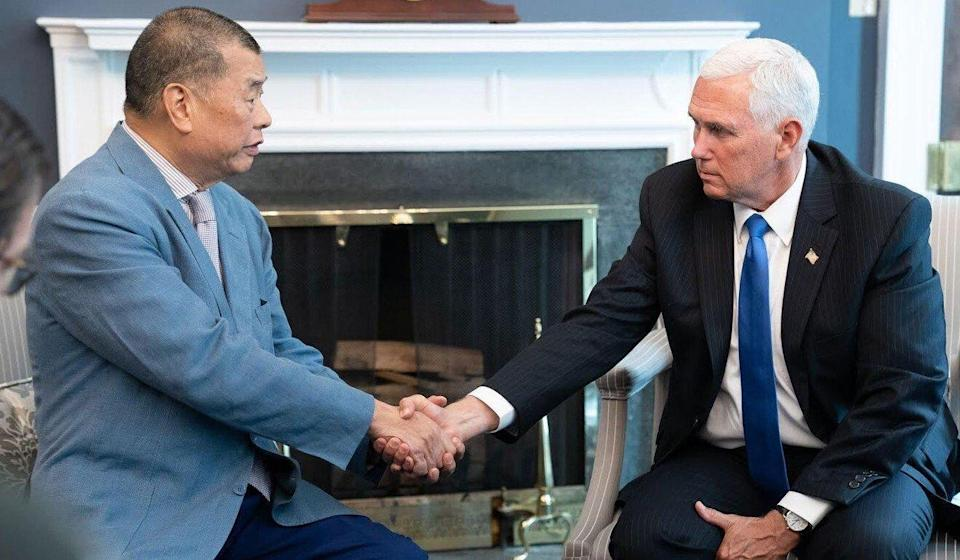 Jimmy Lai (left) meets US Vice-President Mike Pence in the White House, on July 8, 2019. Photo: Mark Simon.