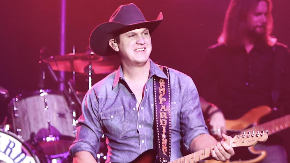"""HUNTINGTON, NY-JAN 8: Musician Jon Pardi performs onstage during the """"All Time High"""" tour at the Paramount on January 16, 2016 in Huntington, New York."""