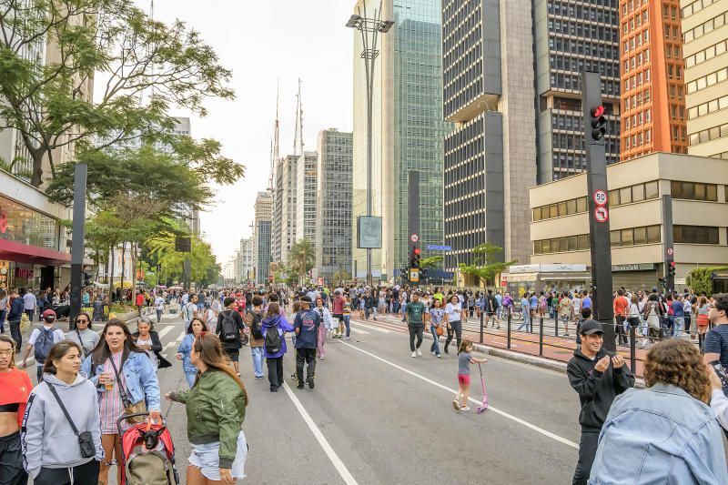 Sao Paulo - SP, Brazil - November 17, 2019: Paulista avenue open on sunday for the traffic of people. Avenue free for pedestrians, exercises and leisure. Street with no traffic of cars.