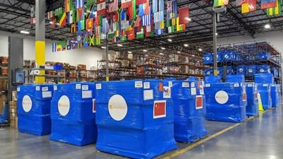 The latest shipment of personal protective equipment, including surgical masks and N95 respirator masks, departs Direct Relief's warehouse Thursday, bound for medical facilities in China. (Tony Morain/Direct Relief)