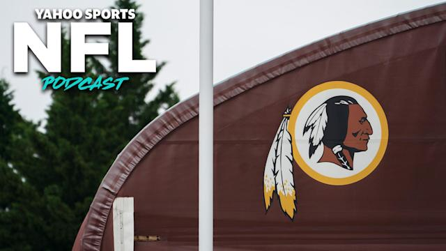 The old logo of Washington's NFL franchise displayed on a building. The team announced on Monday they would be retiring their logo and nickname after decades of backlash. (Photo by Drew Angerer/Getty Images)