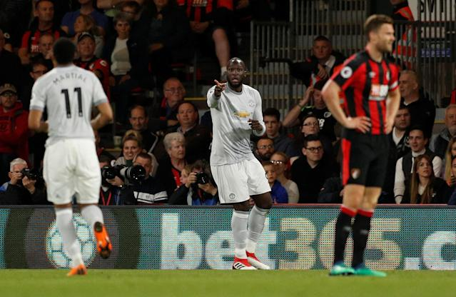 "Soccer Football - Premier League - AFC Bournemouth vs Manchester United - Vitality Stadium, Bournemouth, Britain - April 18, 2018 Manchester United's Romelu Lukaku celebrates scoring their second goal with Anthony Martial Action Images via Reuters/John Sibley EDITORIAL USE ONLY. No use with unauthorized audio, video, data, fixture lists, club/league logos or ""live"" services. Online in-match use limited to 75 images, no video emulation. No use in betting, games or single club/league/player publications. Please contact your account representative for further details."
