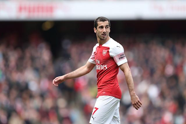 Arsenal may decide to leave its Armenian midfielder, Henrikh Mkhitaryan, at home for the Europa League final for safety reasons. (Photo by James Williamson - AMA/Getty Images)