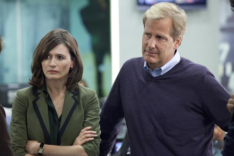 """This publicity image released by HBO shows Emily Mortimer as Mackenzie MacHale , left, and Jeff Daniels as Will McAvoy on the HBO series, """"The Newsroom,"""" premiering Sunday, June 24, 2012 at 10 p.m. EST on HBO. (AP Photo/HBO, Melissa Moseley)"""