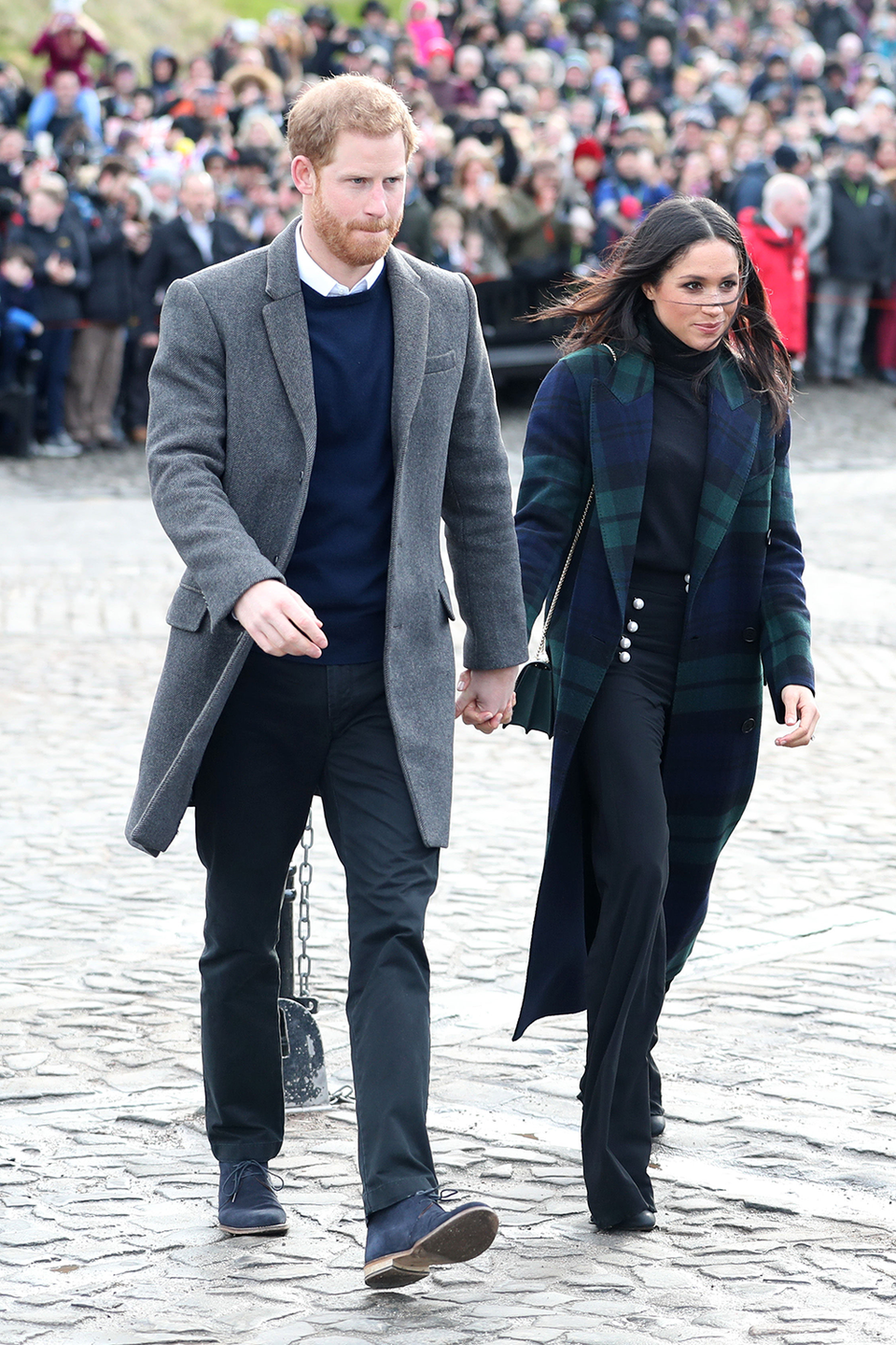 """<p>There's not an official rule about PDA, but royals usually keep it to a minimum, because they're working representatives of the monarchy. You'll notice, however, that Meghan and Prince Harry hold hands a lot—whether they're at an official appearance or caught in public by the paparazzi. This is <a href=""""https://www.vogue.com/article/prince-harry-meghan-markle-holding-hands-pda"""" rel=""""nofollow noopener"""" target=""""_blank"""" data-ylk=""""slk:partly because"""" class=""""link rapid-noclick-resp"""">partly because</a> Harry, as the sixth person in line for the throne, has slightly less responsibility to uphold the image of the monarchy than his older brother does. </p>"""