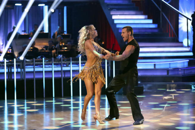 "Kym Johnson and Ingo Rademacher perform on ""Dancing With the Stars."""
