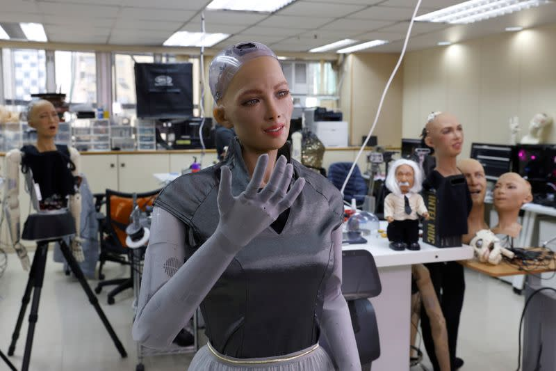 Humanoid robots are developed in Hanson Robotics lab in Hong Kong