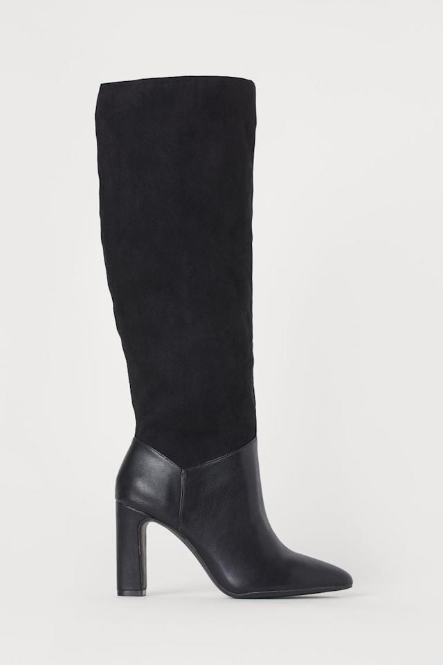 "<p>The mix of suede and leather on these <a href=""https://www.popsugar.com/buy/HampM-Knee-High-Boots-497161?p_name=H%26amp%3BM%20Knee-High%20Boots&retailer=www2.hm.com&pid=497161&price=70&evar1=fab%3Aus&evar9=46708110&evar98=https%3A%2F%2Fwww.popsugar.com%2Ffashion%2Fphoto-gallery%2F46708110%2Fimage%2F46708363%2FHM-Knee-High-Boots&list1=shopping%2Cfall%20fashion%2Cshoes%2Cboots%2Cfall&prop13=api&pdata=1"" rel=""nofollow"" data-shoppable-link=""1"" target=""_blank"" class=""ga-track"" data-ga-category=""Related"" data-ga-label=""https://www2.hm.com/en_us/productpage.0783627001.html"" data-ga-action=""In-Line Links"">H&amp;M Knee-High Boots</a> ($70) makes them unique.</p>"
