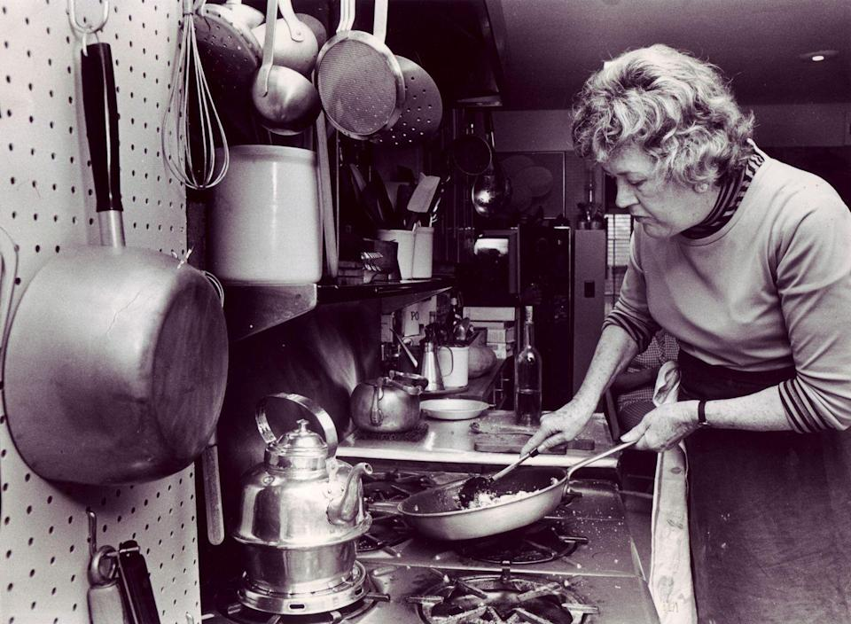 <p>The kitchen pegboard became popular in the '50s when many home cooks followed the lead of Julia Child. It's a convenient way to keep pans within reach while also adding an unexpected decorative element, so many people kept it up. </p>