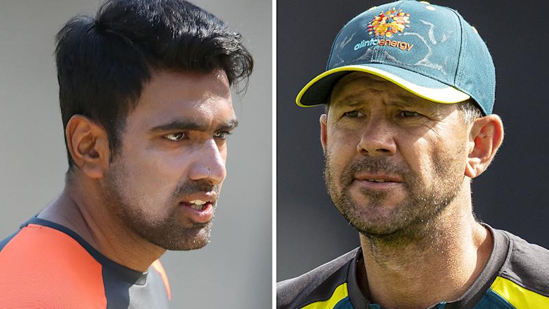 A 50-50 split image shows Ravi Ashwin on the left and Ricky Ponting on the right.