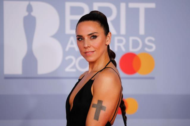 Mel C poses on the red carpet on arrival for the BRIT Awards 2020 in London on February (Photo by TOLGA AKMEN/AFP via Getty Images)