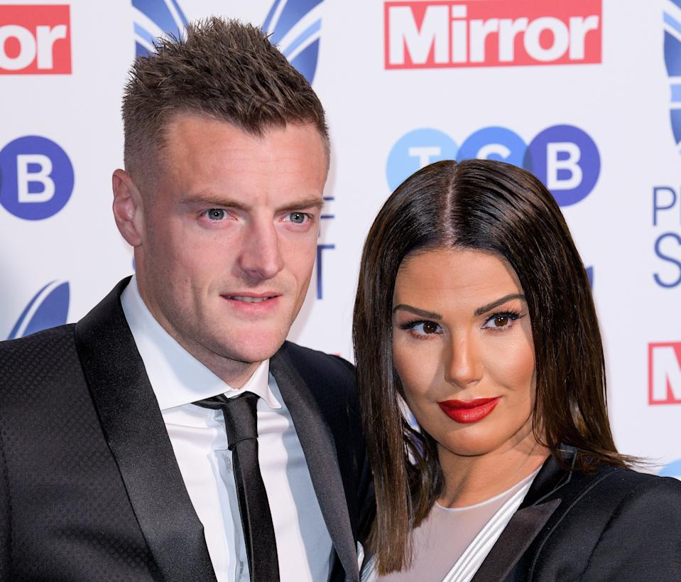 Jamie Vardy and Rebekah Vardy attending the Pride of Sport Awards 2018 at the Grosvenor House hotel, London