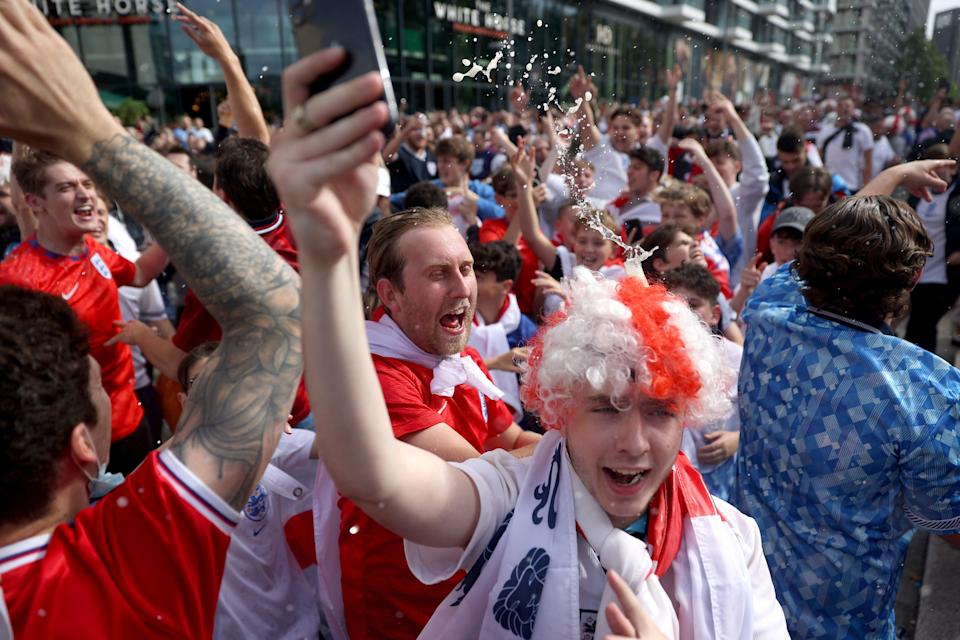 Excited crowds surround Wembley for England vs Denmark's Euro clash (Getty Images)