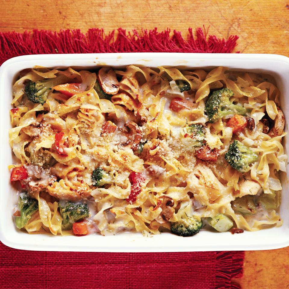 """<p>Use reduced fat soup and fat-free milk to make this favorite casserole lower in fat and calories. Adding a variety of vegetables makes it more nutritious than the traditional recipe. <a href=""""http://www.eatingwell.com/recipe/263235/easy-tuna-noodle-casserole/"""" rel=""""nofollow noopener"""" target=""""_blank"""" data-ylk=""""slk:View recipe"""" class=""""link rapid-noclick-resp""""> View recipe </a></p>"""