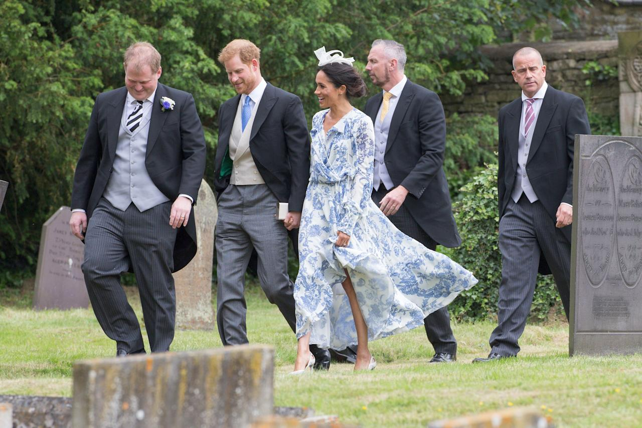 <p>Meghan Markle and Prince Harry attend cousin Celia McCorquodale's wedding to George Woodhouse in Lincolnshire. (Photo: Geoff Robinson Photography/REX/Shutterstock) </p>