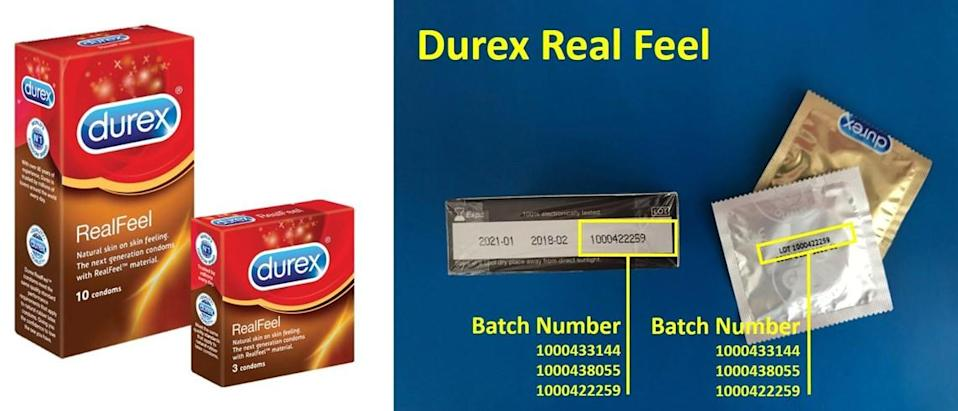 """The packaging (left) for Durex's non-latex """"Real Feel"""" condoms and the serial numbers (right) of the affected batches. (PHOTO: Durex Singapore)"""