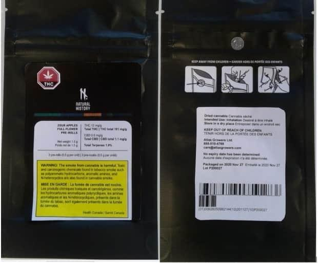 Three lots of Natural History Zour Apples Full Flower Pre-Rolls, manufactured by Atlas Growers, have been recalled. (Health Canada - image credit)