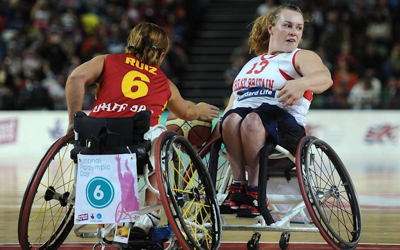 Louise Sugden of Great Britain in action as Great Britain take on Spain in Wheelchair Basketball during the National Paralympic Day at the Olympic Park on September 7, 2013 in London, England - Getty Images