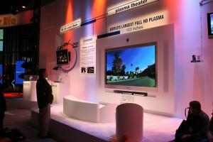 Giant plasma TV on display