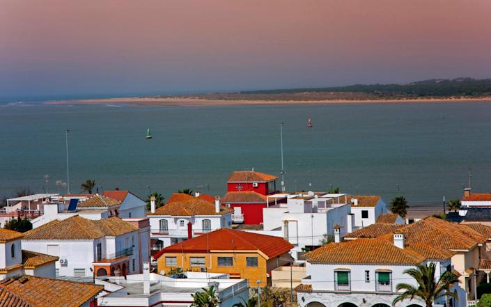 Mouth of the Guadalquivir river in the picturesque Donana National Park